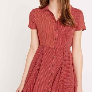 Red Pattern open back button down dress